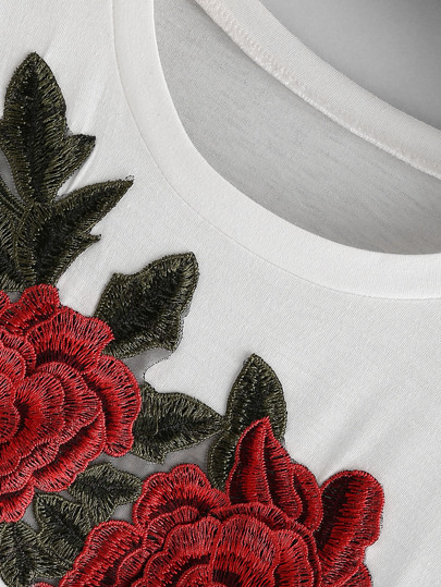 Romwe / Rose Embroidered Applique Tee