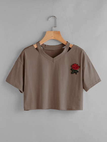 Rose Patch Cut Out Neck Tee