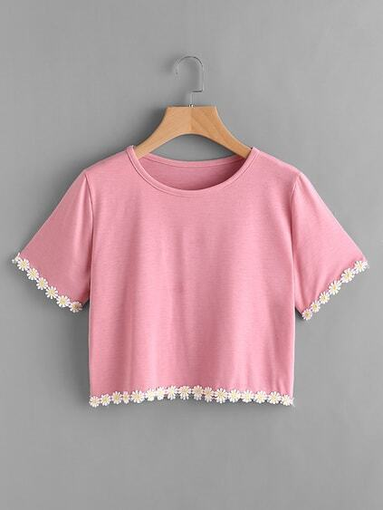Flower Lace Trim Tee