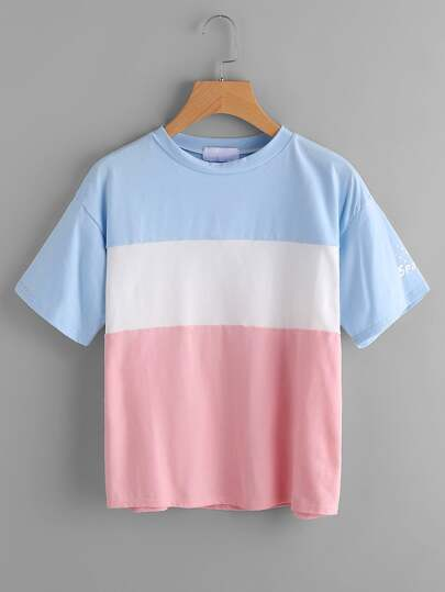 Color Block Letter Print Sleeve Tee