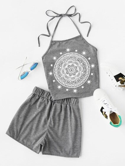 Halter Neck Graphic Print Top And Shorts Set