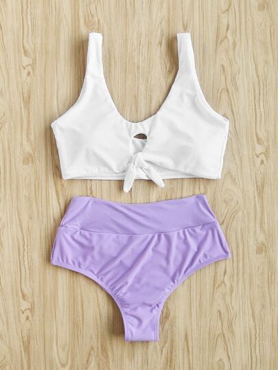 Two Tone Knot Front Tankini Set
