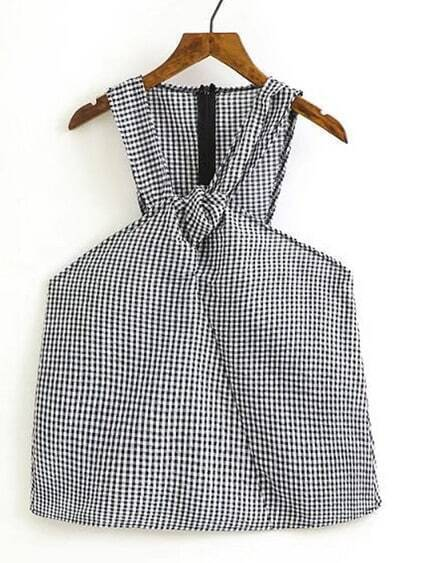 Knot Detail Gingham Sleeveless Top