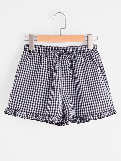 Drawstring Waist Frilled Gingham Shorts