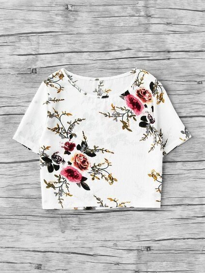 Flowers Inked Print Crop Top