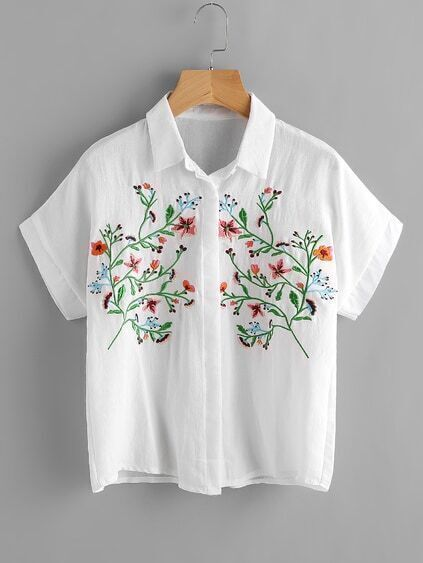 Tropical Embroidered Front Cuffed Blouse