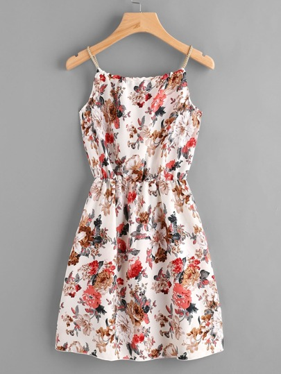 Braided Bead Strap Tie Front Calico Print Dress