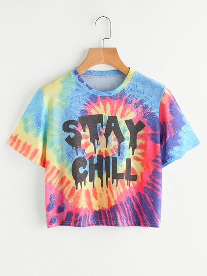 Water Color Slogan Print Tee