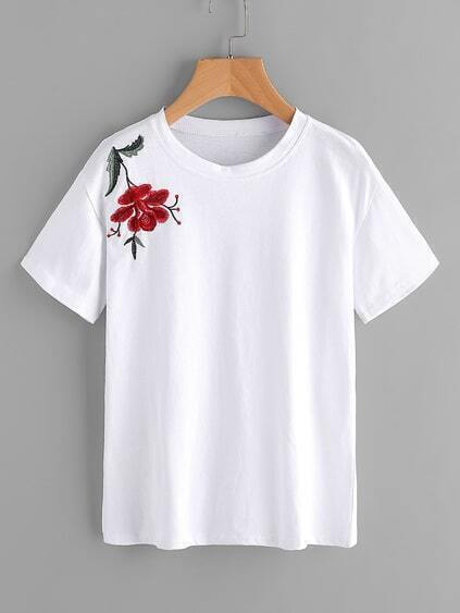Floral Embroidered Shoulder Tee