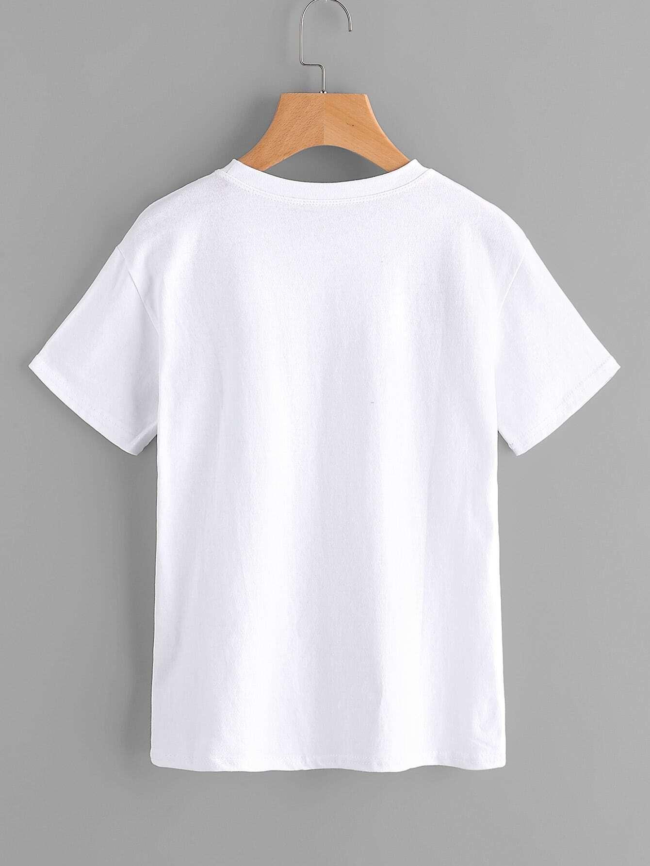 tee shirt brod imprim fleuri french romwe. Black Bedroom Furniture Sets. Home Design Ideas
