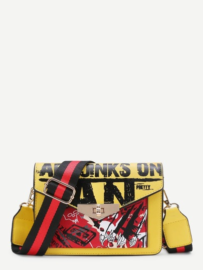 Graphic Print PU Crossbody Bag