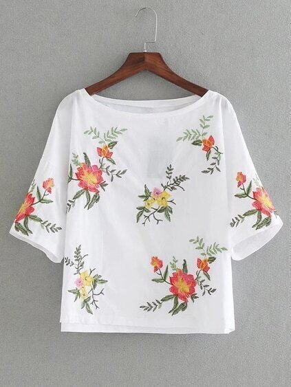 Flower Embroidery Tunic Top