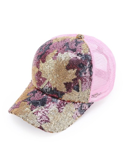 Sequin Embellished Net Baseball Cap