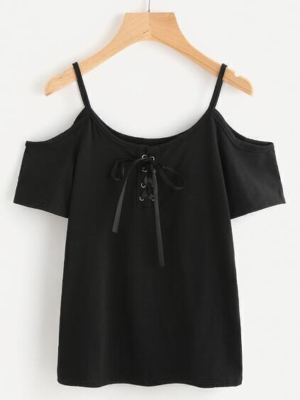 Lace Up Front Cold Shoulder Tee