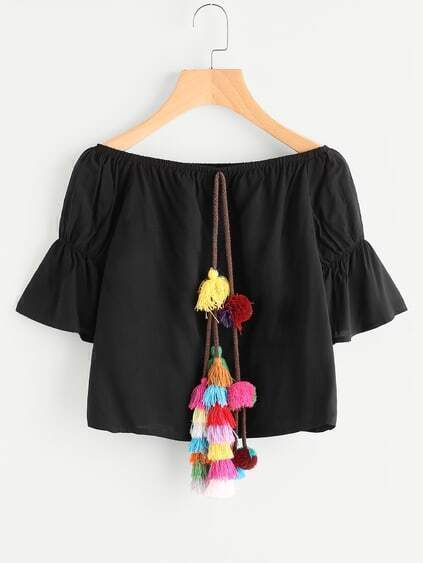 Tassel Pom Pom Front Flare Sleeve Top