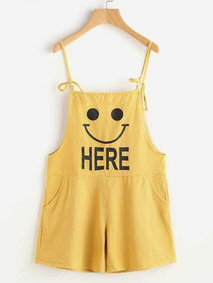 Letter Print Dungaree Shorts