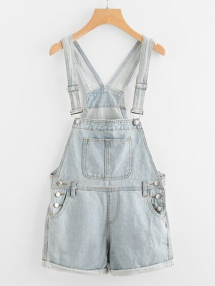 Button Detail Cuffed Denim Dungaree Shorts
