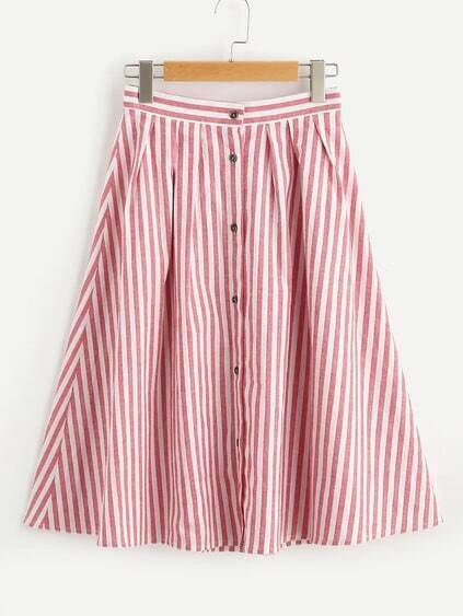 Buttoned Front Pleated Striped Skirt