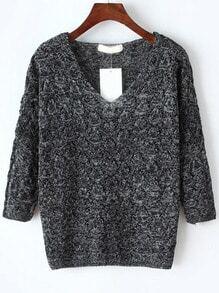 V Neck Hollow Dark Grey Sweater