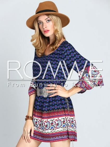 Multicolor Textured Round Neck Vintage Print Dress pictures