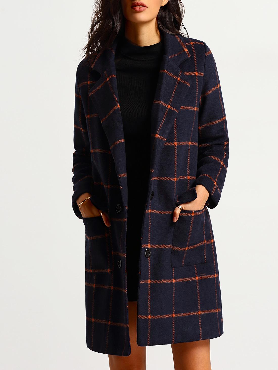 Lapel Plaid Long Coat With PocketsFor Women-romwe