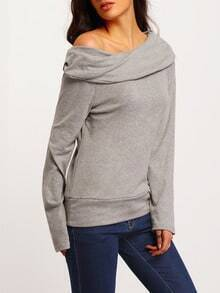 Boat Neck Loose Grey Sweater
