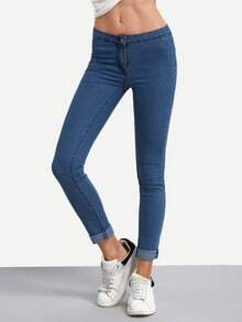 Blue High Waist Denim Slim Pant
