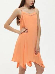 Orange Tie Back Irregular Hem Spaghetti Strap Shift Dress