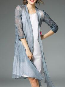 Blue Sheer Pleated Embroidered Coat