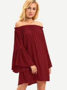 Ruffled Off-The-Shoulder Bell Sleeve Dress - Red