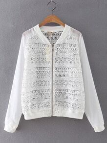 White Long Sleeve Rib-knit Cuff Crochet Coat