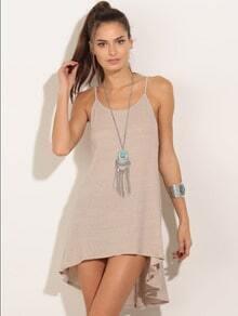Apricot Dip Hem Backless Slip Dress