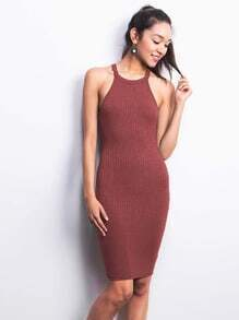 Purplish Red Strap Ribbed Sheath Dress