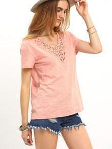 Pink Crochet V Neck Short Sleeve T-shirt