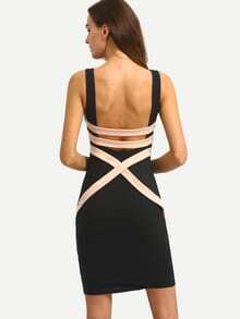 Black Sleeveless Patchwork Hollow Back Bodycon Dress