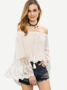White Lace Insert Off The Shoulder Bell Sleeve Blouse