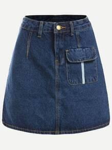 Blue Flap Pocket Front A Line Denim Skirt