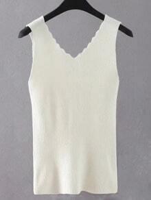 White Scallop Neck Knit Tank Top