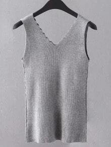 Grey Scallop Neck Knit Tank Top