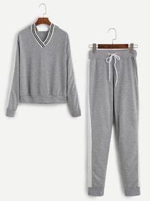 Grey Hooded Loungewear Set With Side Seam Stripes
