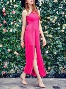 Hot Pink One Shoulder High Slit Chiffon Dress