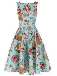 Blue Vintage Print Fit and Flare Dress