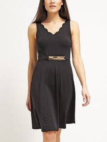 Black Scalloped Dress With Metal Belt