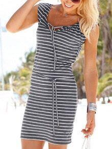 Grey Striped Keyhole Tie Neck T-shirt Dress