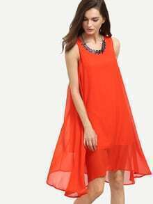 Orange Keyhole Back Chiffon Tank Dress