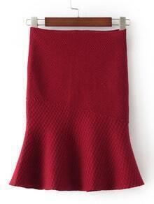 Burgundy High Waist Fishtail Skirt