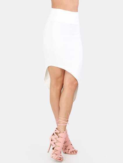 White Sexy Asymmetrical Skirt