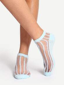 Light Blue Striped Ankle Socks