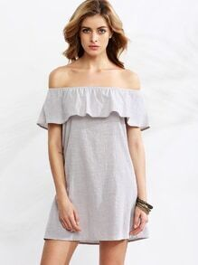 Grey Ruffle Off The Shoulder Dress