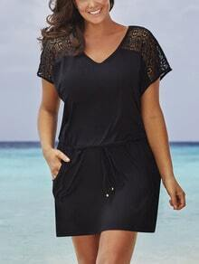 Black Crochet Insert Drawstring Waist Dress